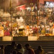 Colorful main ghat in varanasi by night — 图库照片