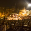 Colorful main ghat in varanasi by night — Stock Photo
