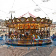 Carousel for children at Madrids Plaza de major in Christmas tim - Stock Photo