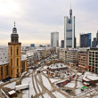 Stock Photo: View to skyline of Frankfurt with Hauptwache and skyscraper ear