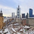 View to skyline of Frankfurt with Hauptwache and skyscraper ear — Stock Photo