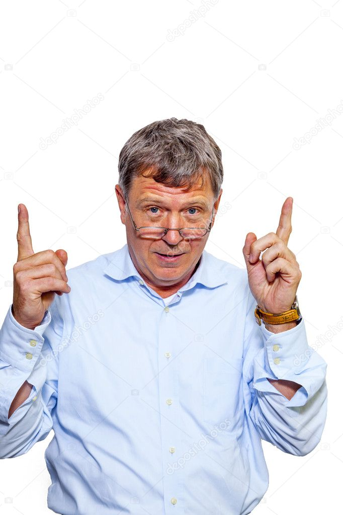 Portrait of smiling happy caucasian man gesturing with his finger — Stock Photo #10645203