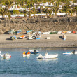 Scenic view to the promenade of Playa Blanca, Lanzarote from sea — Stock Photo #10665702