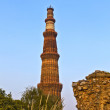 Qutb Minar, Delhi, the worlds tallest brick built minaret at 72m — Stock Photo