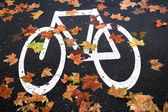 White mark bicycle lane at the street — Stock Photo
