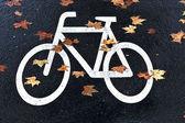 White mark bicycle lane at the street — Stock Photo