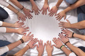 Hands of girls form a circle — Stock Photo