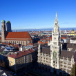 Aerial of Munich in beautiful weather - Stock Photo