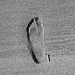 Mark of feet at the beach — Stock Photo #8297907