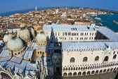 Overlooking the marcus church in venice from campanile de San Ma — Stock Photo