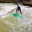 Surfing on river ISAR in Munich, Germany. — Stock Photo #8593066