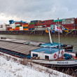 Ships and container in the container harbor in Winter — Stok fotoğraf