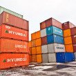 Ships and container in the container harbor in Winter — Stock Photo