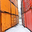 Ships and container in the container harbor in Winter — Foto de Stock