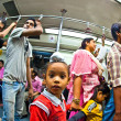 In the metro yellow line in delhi late evening - Stock Photo