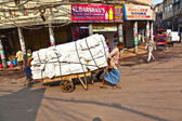 On the street of Chawri Bazar, the wholesale market of O — Stock Photo