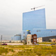 Old houses and new casinos in Atlantic City - Stock Photo