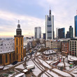 View to skyline of Frankfurt with Hauptwache and skyscraper ear — Stock Photo #8604870