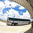 Stock Photo: Visitors travel by bus in the Kennedy space center