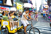 In a rickshaw at Times Square — Stock Photo
