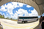 Visitors travel by bus in the Kennedy space center — Stock Photo