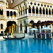 Venice Theme Venetian with Gondola on water and Caesars Casino H — Stock Photo