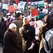 Stock Photo: Demonstrate against bombing of Gazand for freedom i
