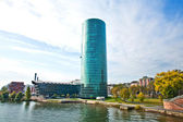 FRANKFURT, GERMANY - 21 JULY: Frankfurt WESTHAFEN tower at river — Stock Photo