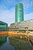Frankfurt business center at river Main in the west harbor area — Stock Photo