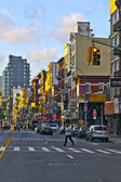 NEW YORK CITY - JULY 09: Sunset in Allen street on July 09, 2011 — Stock Photo