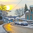 Village of Grinzing in early morning light in Wintertime — Stock Photo