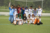 Soccer team BSC SChwalbach after winning the cup — Stock Photo
