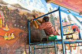Worker restores the famous paintings in the Grand Palace precise — Stock Photo