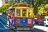 Cable Car passes the Powell street in rush hour — Stock Photo