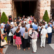 Stock Photo: Visitors, spectators entering arendi veronthrough old ro