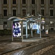 Vienna - empty bus stop in Viennas first district by night - Stock Photo