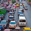 Main road in Bangkok in afternoon traffic jam near the CENTRAL s — Stock Photo