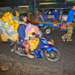 Transport flowers at Pak Khlong Thalat market - Stock Photo