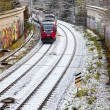 Snow covered rails in city — Stock Photo #8892369