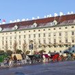 Horse drawn fiaker at the Hofburg for tourists in Vienna — Stock Photo #8892758