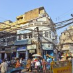 Downtown traffic scene in old Delhi near Meena bazaar — Stock Photo #8895357