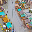 View to christmas market at Hauptwache in rainy weather - Stock Photo