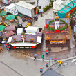 View to christmas market at Hauptwache in rainy weather — Stock Photo