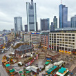 View to skyline of Frankfurt with Hauptwache and skyscraper in r - Stock Photo