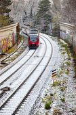 Snow covered rails in the city — Stock Photo