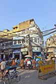 Downtown traffic scene in old Delhi near Meena bazaar — Stock Photo