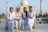 Indian visit Taj Mahal in India — Stock Photo