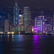 Hong Kong Harbor Laser Show to Skyline of Victoria — Foto de Stock