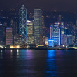 Hong Kong Harbor Laser Show to Skyline of Victoria — Stockfoto