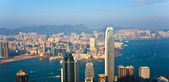 Hong kong pohled z victoria peak do zálivu a mrakodrap — Stock fotografie